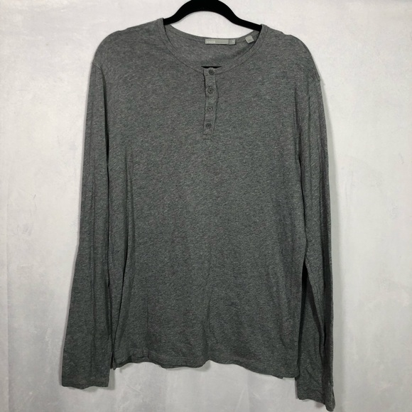 Vince long sleeve grey cotton Henley t shirt